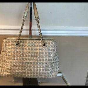 Kate Spade Woven Straw/Cloth Bag w/Leather&Metal